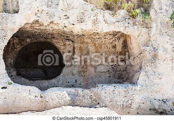 stone room in artificial cave of Greek theater - csp45801911