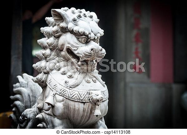 Stone sculpture of dragon in buddhist temple. - csp14113108