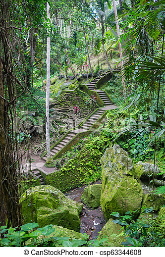 Stone slab stairs up a small hill under green tree - csp63344608