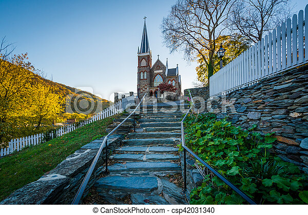 Stone staircase and the St. Peter's Roman Catholic Church in Harpers Ferry, West Virginia. - csp42031340