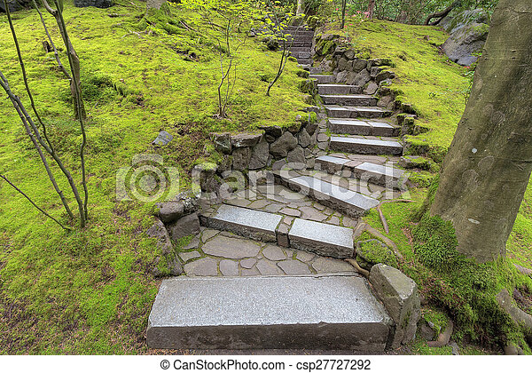 Stone stairway steps in japanese garden stone steps stock stone stairway steps in japanese garden csp27727292 workwithnaturefo