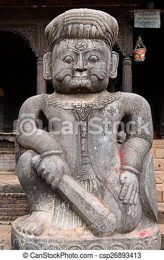 Stone statue of a fighter guardian at Nyatapola Hindu temple in - csp26893413