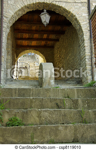 Stone Steps Leading To Arched Walkway - csp8119010