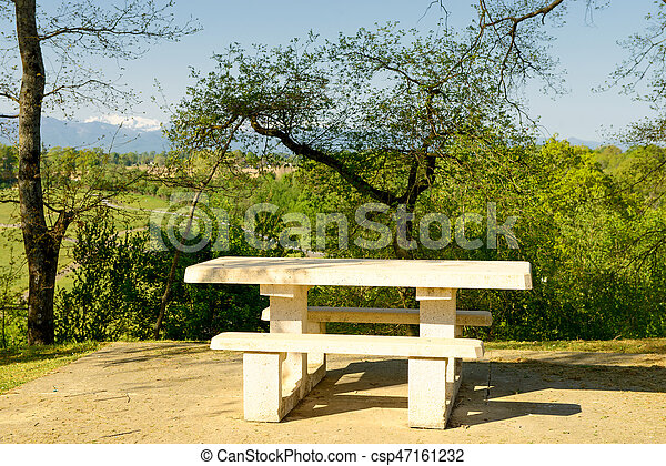 Stone Table For Picnic In The Countryside A Stone Table For Picnic - Stone picnic table