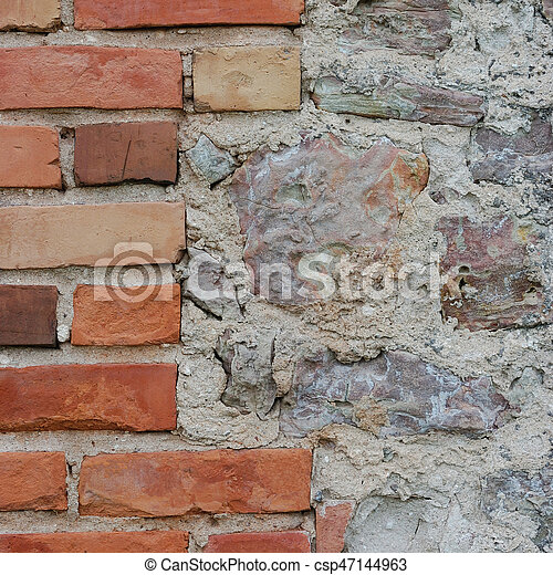 Stone Wall Background Closeup Vertical Plastered Grunge Red Brick Stonewall Beige Limestone Stock Photo