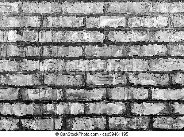 Stone wall black and white - csp59461195