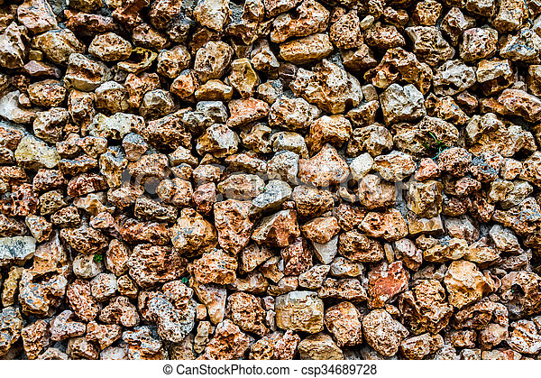 stone wall with a porous surface fragment of stone wall with a