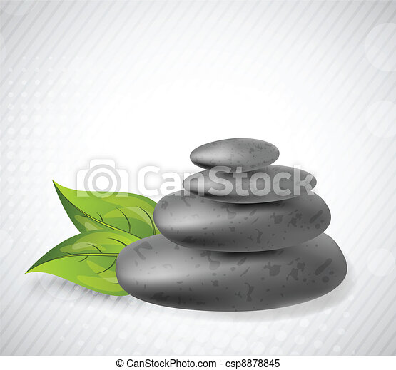Stone with leaves - csp8878845