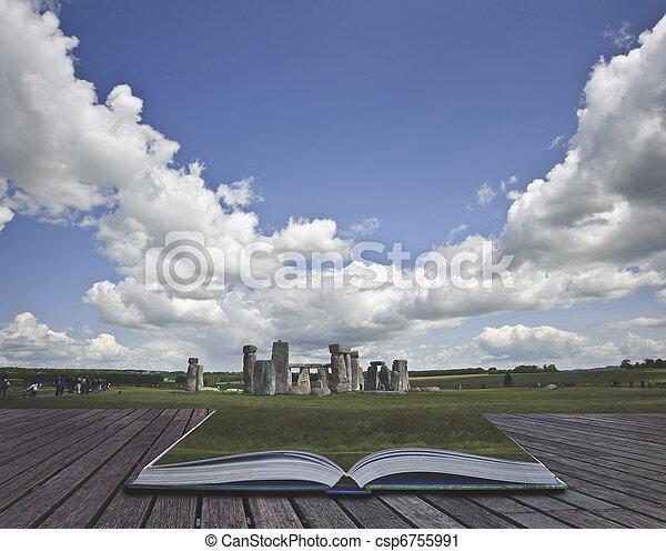stonehenge, concept, beeld, magisch, creatief, boek, komst, pagina's, uit - csp6755991