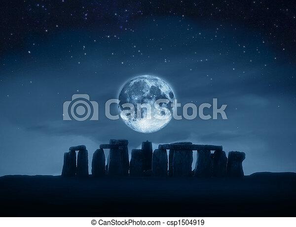 stonehenge, pleine lune - csp1504919