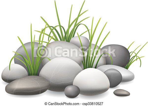 Line Drawing Grass : A pile of stones and green grass growing through the vector