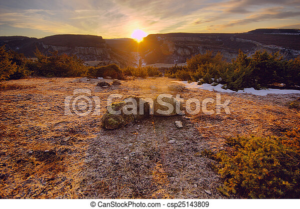 stones at sunrise in the mountains - csp25143809