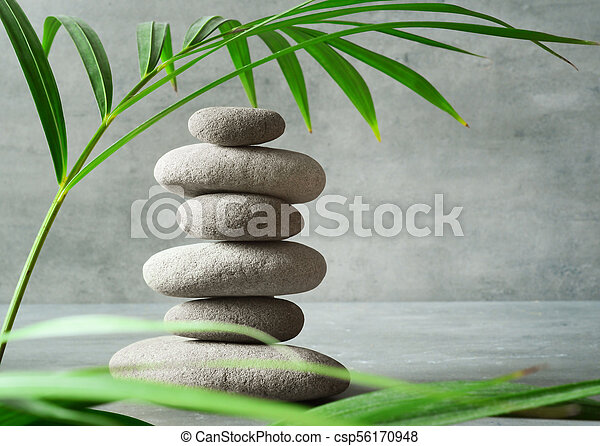 Stones Balance Zen And Spa Concept Stones And Green Palm Leaf
