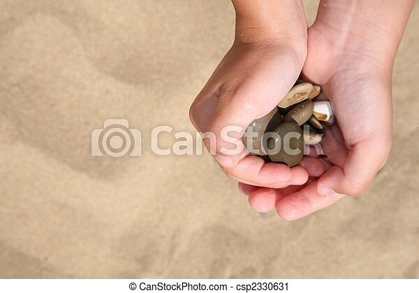 Stones in hands of the girl - csp2330631