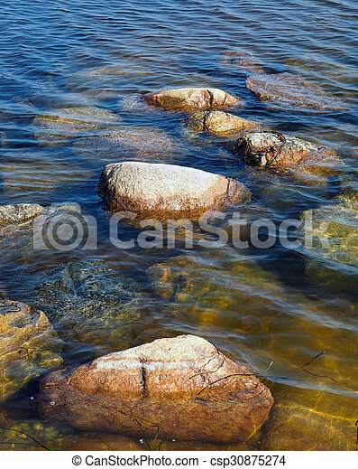 Stones on the Baltic Sea coast - csp30875274