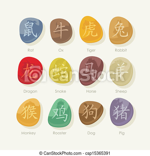 Stones set with Chinese zodiac sign - csp15365391