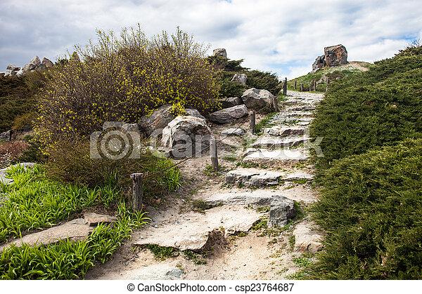 Stony stairs in the rockery in Kyiv botanical garden - csp23764687