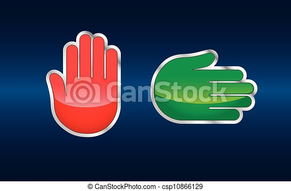Stop and go hand signs - csp10866129