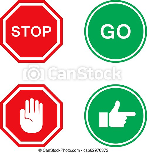 Stop and go signs in red and green with hand - csp62970372