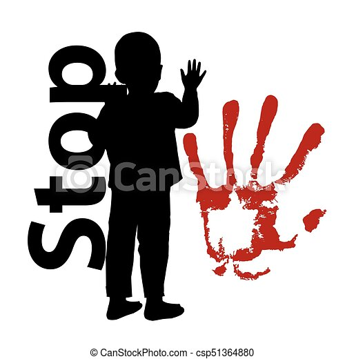 stop child abuse the child is silhouetted and the bloody hand rh canstockphoto com Violence Prevention Clip Art Domestic Violence Clip Art