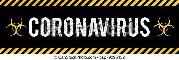 Stop Coronavirus COVID-2019 on blue background. Virus 2019-nCoV cells. - csp79296452