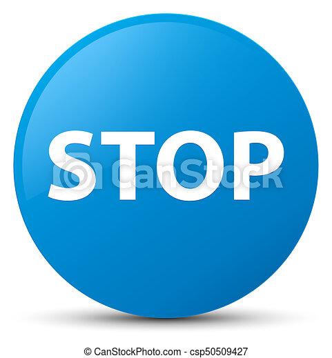 Stop cyan blue round button - csp50509427