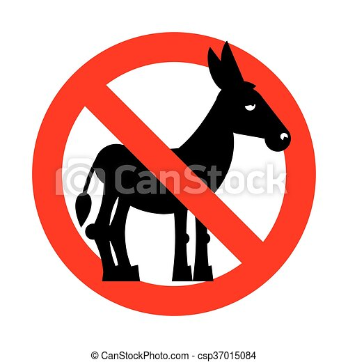 Stop donkey.  Ban stupid people. Prohibited fool. Crossed-out silhouette of donkey. Emblem against stupidity. Red prohibition sign - csp37015084