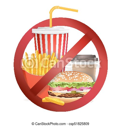 Stop fast food vector. no food or drinks allowed icon ...