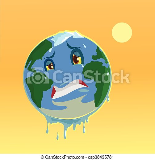 Stop Global Warming Planet Character Vector Flat Illustration