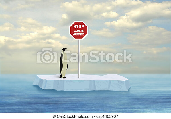 Penguin looking at stop global warming sign driven into floe stop global warming csp1405907 sciox Gallery