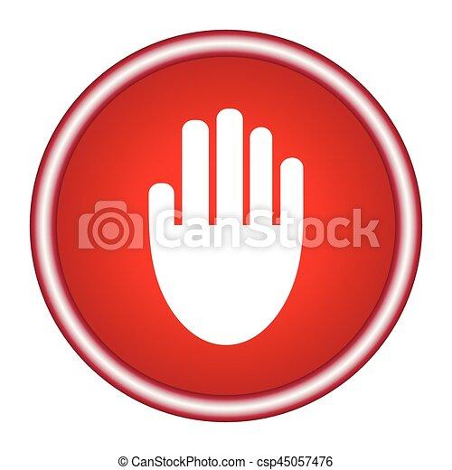 Stop hand Icon Vector. - csp45057476