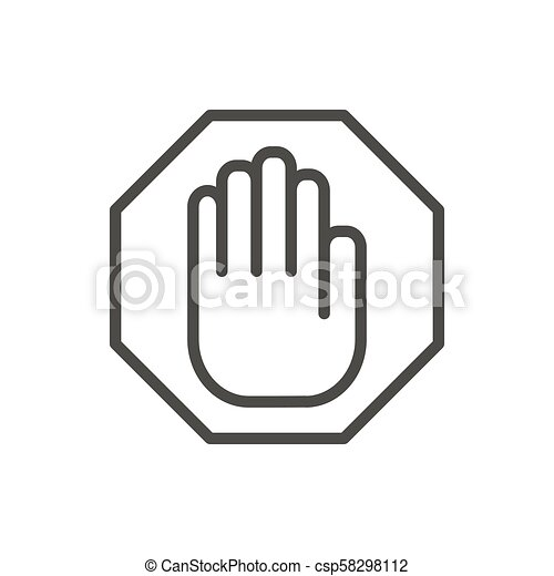 Stop hand icon vector  Line warning symbol isolated  Trendy flat outline ui  sign design  Thin linea