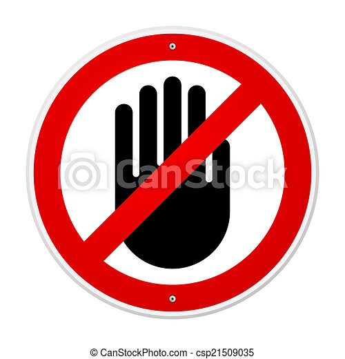 Stop Hand Symbol No Entry Red Sign With Black Hand Vectors