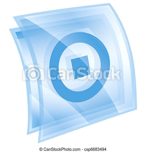 Stop icon blue, isolated on white background. - csp6683494