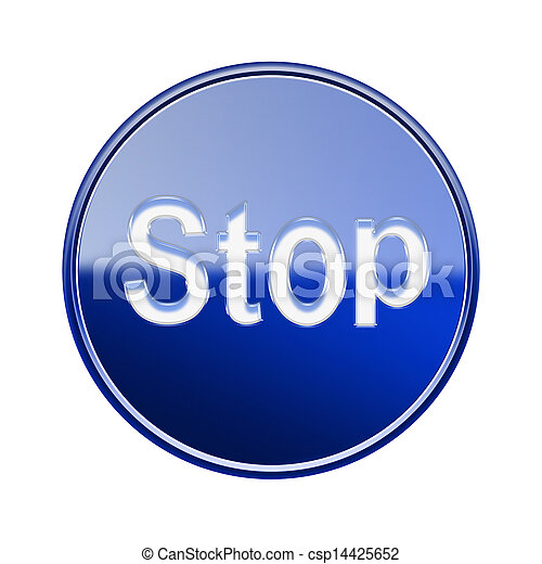 Stop icon glossy blue, isolated on white background - csp14425652