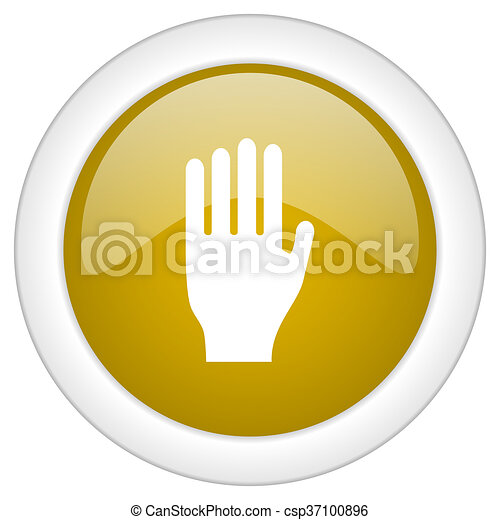 stop icon, golden round glossy button, web and mobile app design illustration - csp37100896
