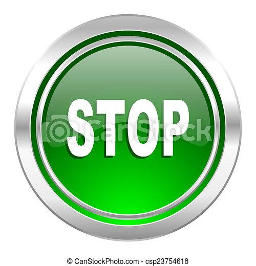 stop icon, green button - csp23754618
