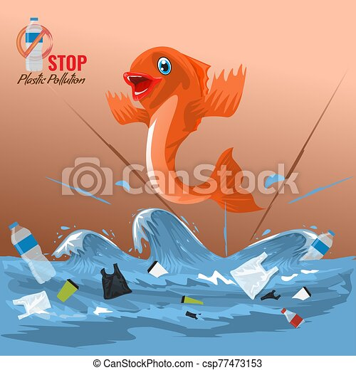 Stop ocean plastic pollution concept with fish character. Plastic garbage bottles in the ocean sea waves. Vector illustration. - csp77473153