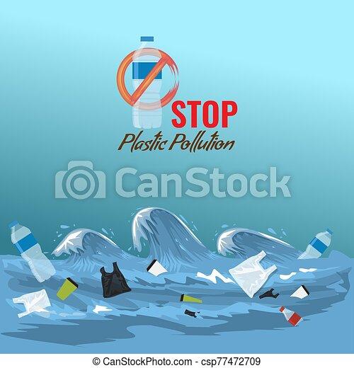 Stop ocean plastic pollution concept. Plastic garbage bottles in the ocean sea waves. Vector illustration. - csp77472709