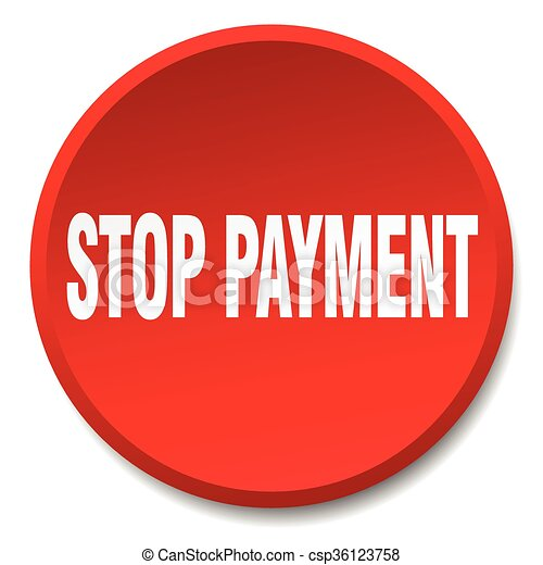 stop payment red round flat isolated push button - csp36123758