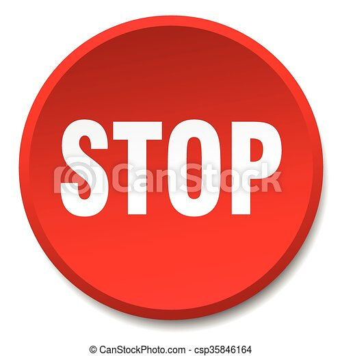 stop red round flat isolated push button - csp35846164