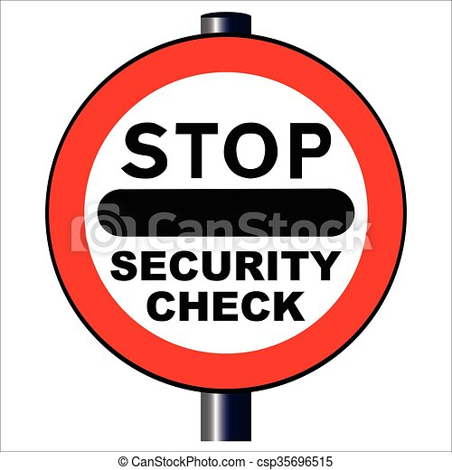 a large stop security check sign isolated over a white vector rh canstockphoto com security clipart images security clipart free