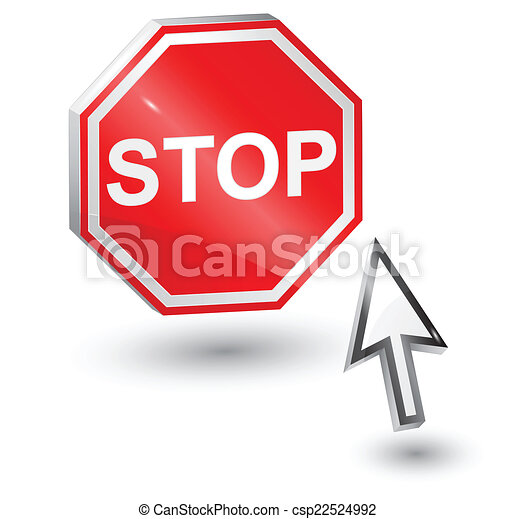 Stop sign and computer arrow mouse. - csp22524992