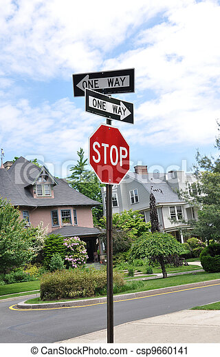 Stop Sign Directional Arrows - csp9660141