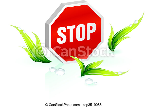 Stop sign Green Environmental Conservation Background - csp3519088