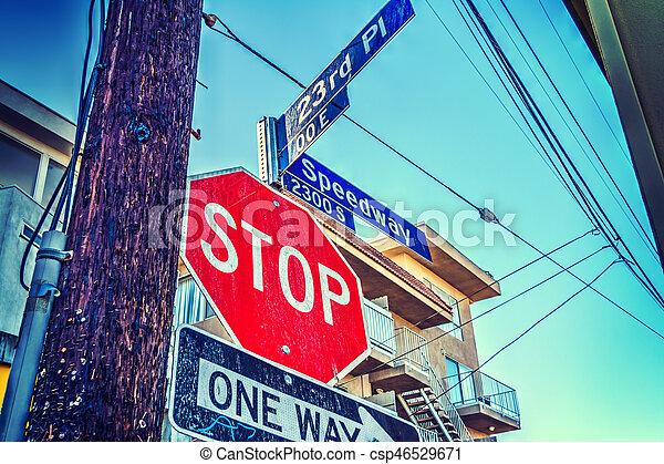 Stop sign in Los Angeles - csp46529671