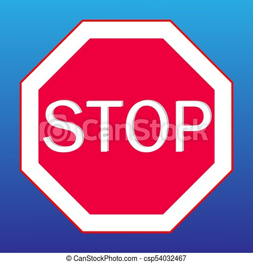 stop sign on a blue background - csp54032467