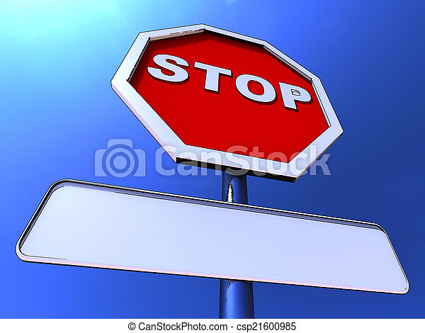 Stop Sign With Blank Copy space For Message - csp21600985