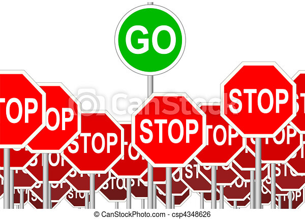 STOP Signs GO Sign progress symbol isolated - csp4348626