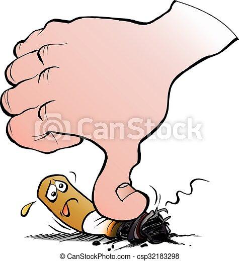 Vector Cartoon Illustration Stop Smoking